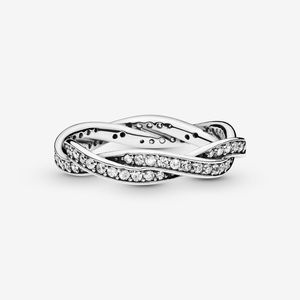 PANDORA Sparking Twisted Lines Ring Silver CZ